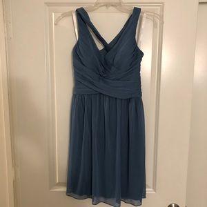 David's Bridal, mesh, short, bridesmaid dress.
